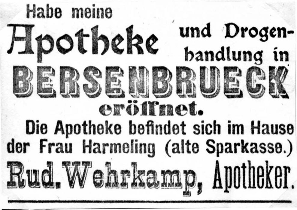 Am 6. Mai 1919 war in der Bersenbrücker Zeitung zu lesen: